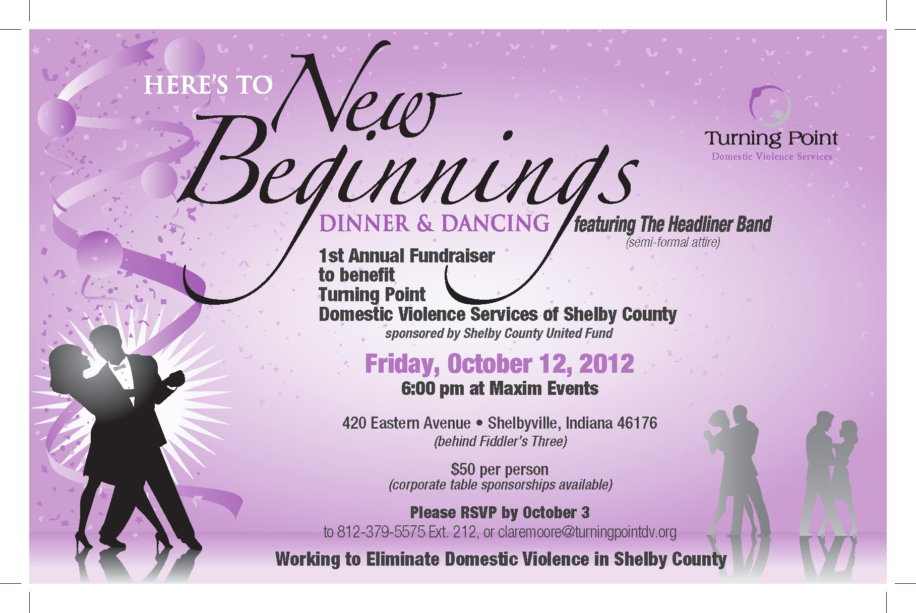 Here's to New Beginnings Dinner & Dancing 2012 flier