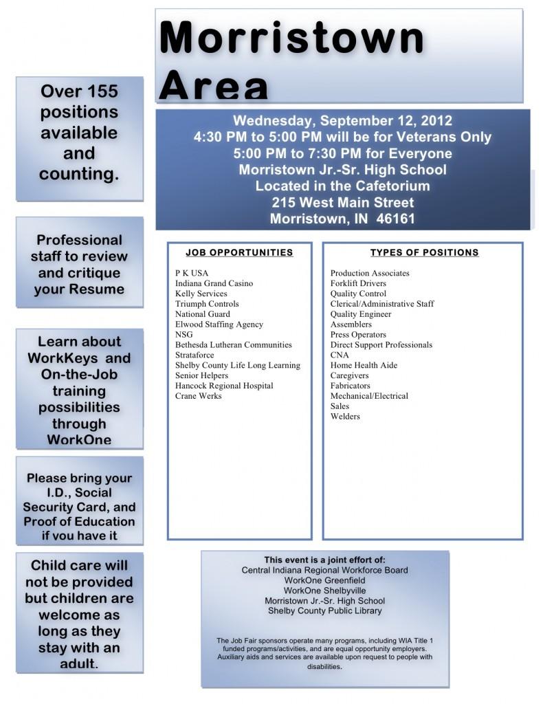 Job seeker flyer Morristown Career fair
