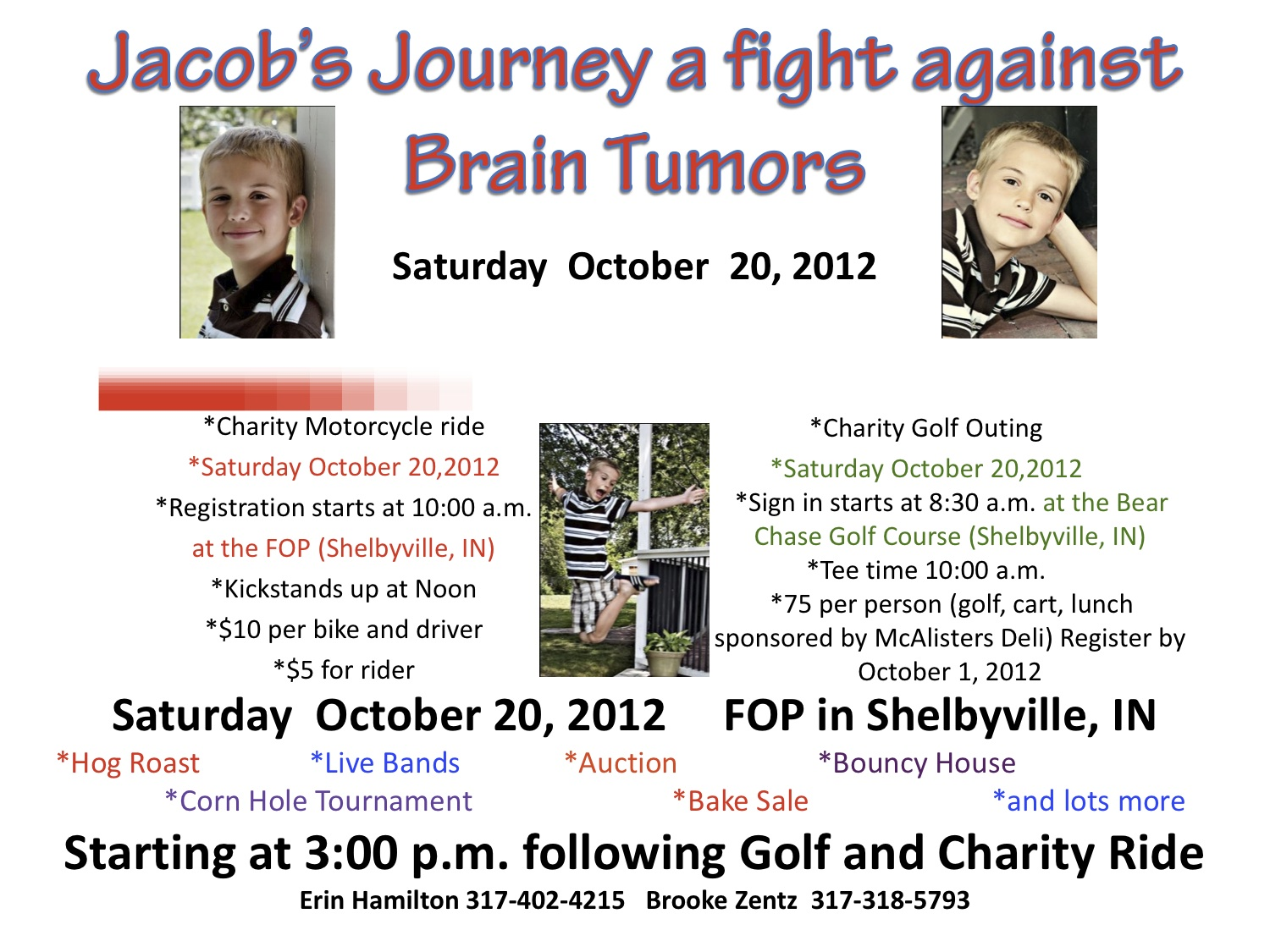Jacob Tyler Journey a fight against brain tumors flyer