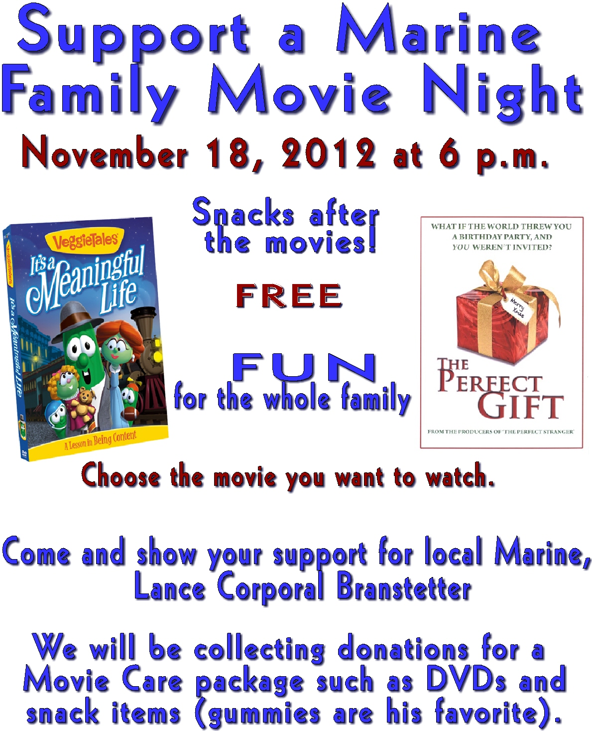 support a marine movie night at town country christian church
