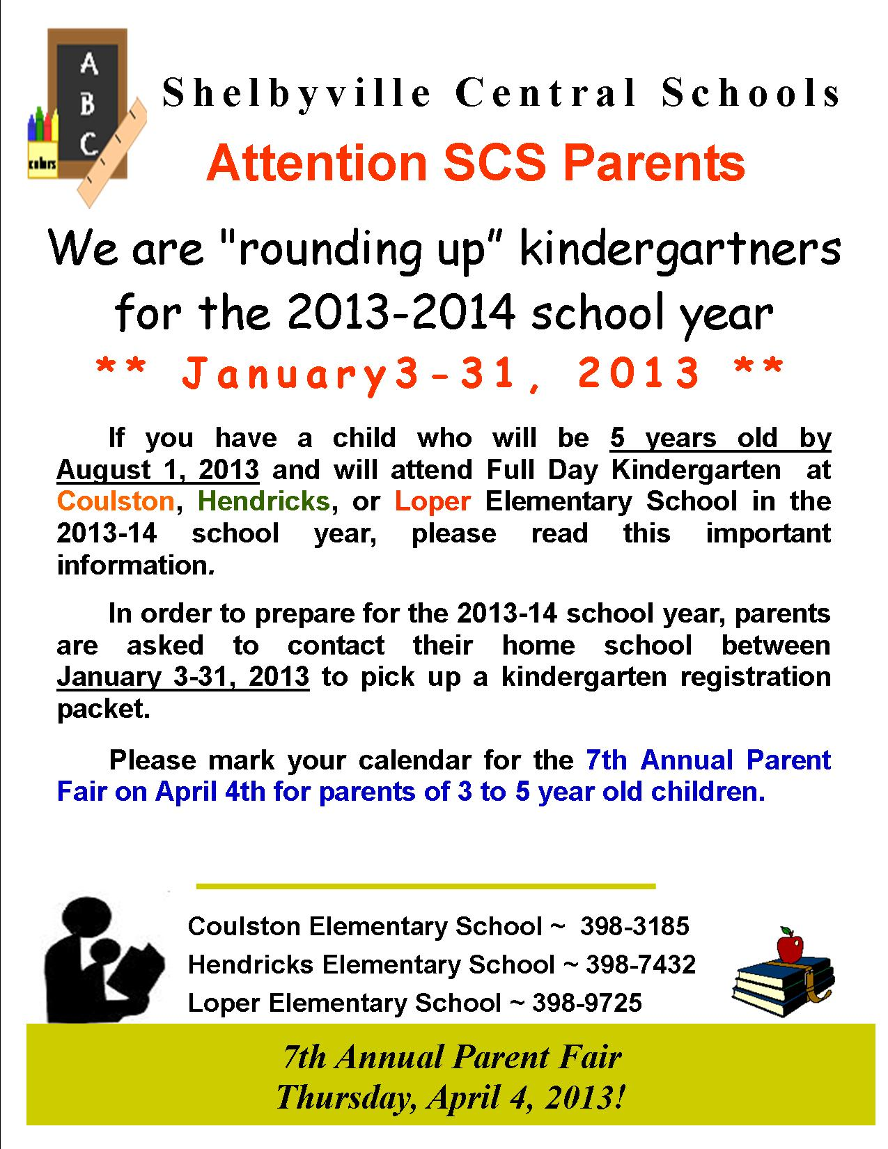2013 Kindergarten Round Up Flyer