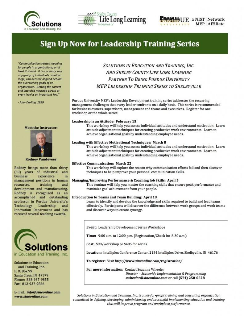 Flier for Leadership Training Series in Shelbyville