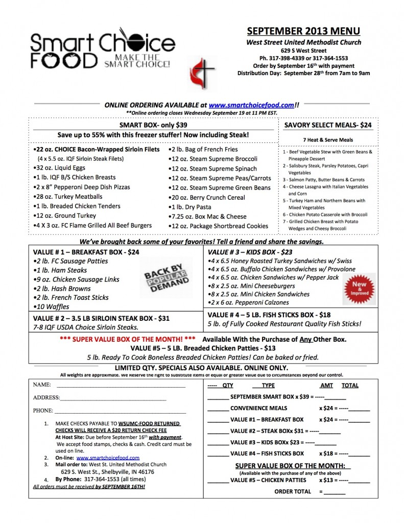 September 2013 Smart Choice Food Menu