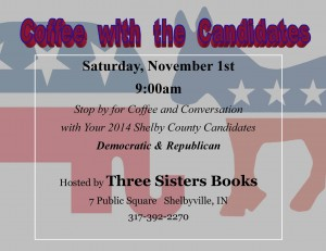 Coffee with the Candidates @ Three Sisters Books & Gifts | Shelbyville | Indiana | United States