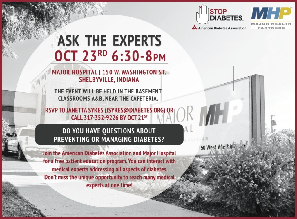 Ask The Experts on Diabetes @ Major Hospital | Shelbyville | Indiana | United States