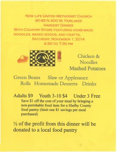 Harvest Dinner @ New Life United Methodist Church | Fairland | Indiana | United States
