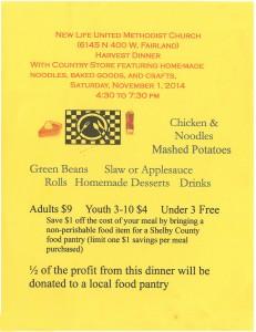 Harvest Dinner @ New Life United Methodist Church | Fairland | Indiana | United States