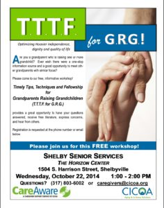 Timely Tips, Techniques and Fellowship for Grandparents Raising Grandchildren @ The Horizon Center | Shelbyville | Indiana | United States