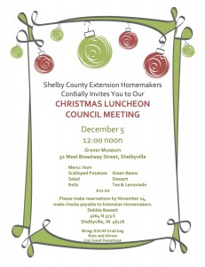 Extension Homemakers Christmas Luncheon Council Meeting @ Grover Museum | Shelbyville | Indiana | United States