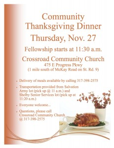 Community Thanksgiving Dinner @ Crossroad Community Church | Arthur | Illinois | United States