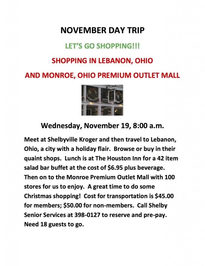 NOVEMBER DAY TRIP – LET\'S GO SHOPPING!!! | ShelbyvilleToday