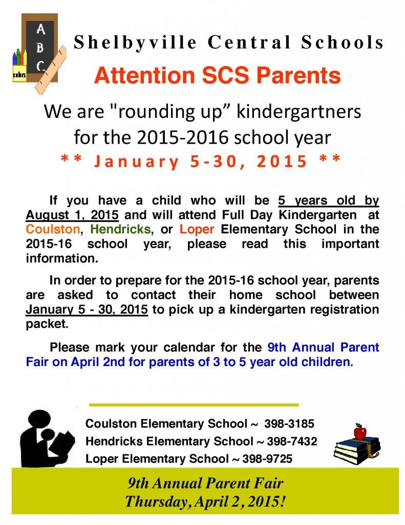 SCS Kindergarten Roundup @ Shelbyville Central Elementary Schools