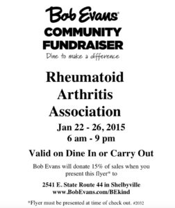 Rheumatoid Arthritis Association Fundraiser @ Bob Evans | Shelbyville | Indiana | United States