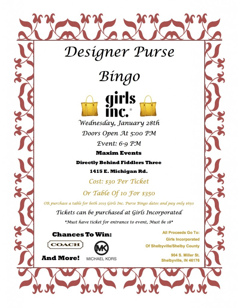 Designer Purse Bingo @ Maxim Events | Shelbyville | Indiana | United States