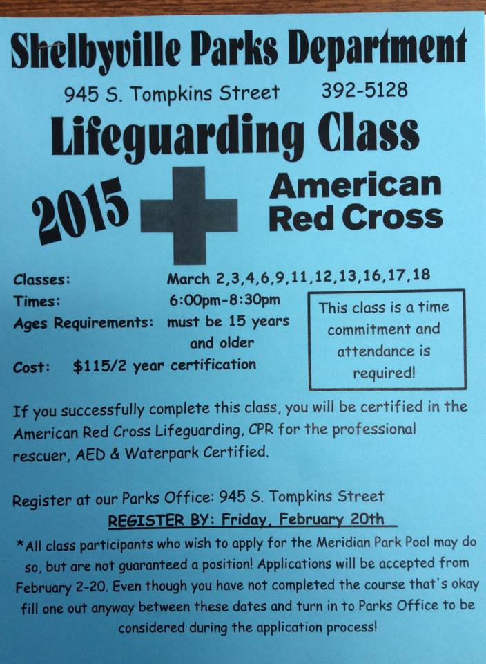 Lifeguarding Class @ Shelbyville Parks Department | Shelbyville | Indiana | United States