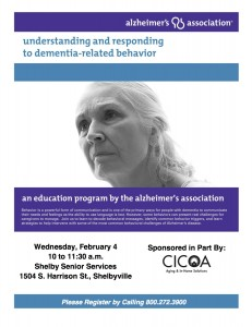 Understanding and Responding to Dementia-Related Behavior @ Shelby Senior Services, Inc. The Horizon Center | Shelbyville | Indiana | United States
